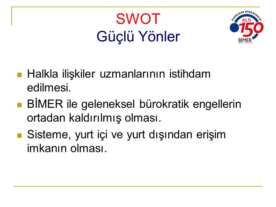 SWOT Güçlü Yönler Halkla ilişkiler uzmanlarının istihdam edilmesi.