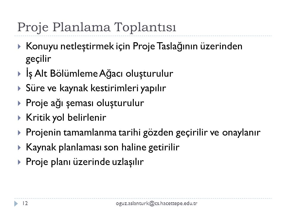 Proje Planlama Toplantısı