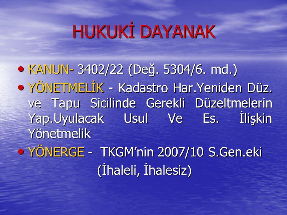 HUKUKİ DAYANAK KANUN- 3402/22 (Değ. 5304/6. md.)