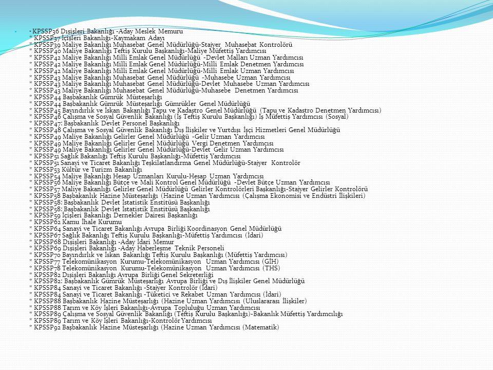 KPSSP36 Dışişleri Bakanlığı -Aday Meslek Memuru