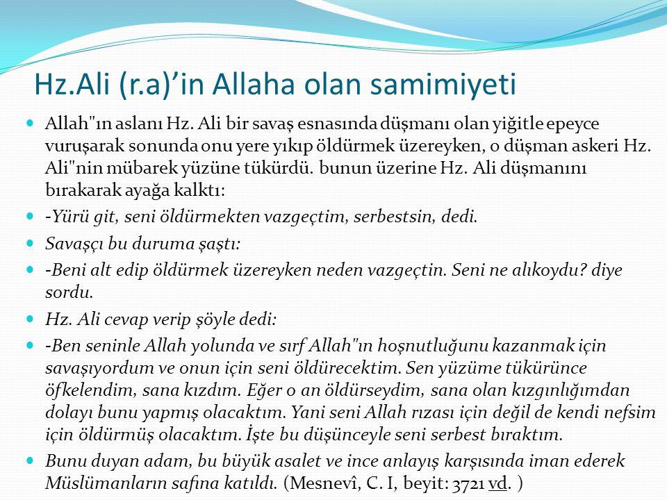 Hz.Ali (r.a)'in Allaha olan samimiyeti