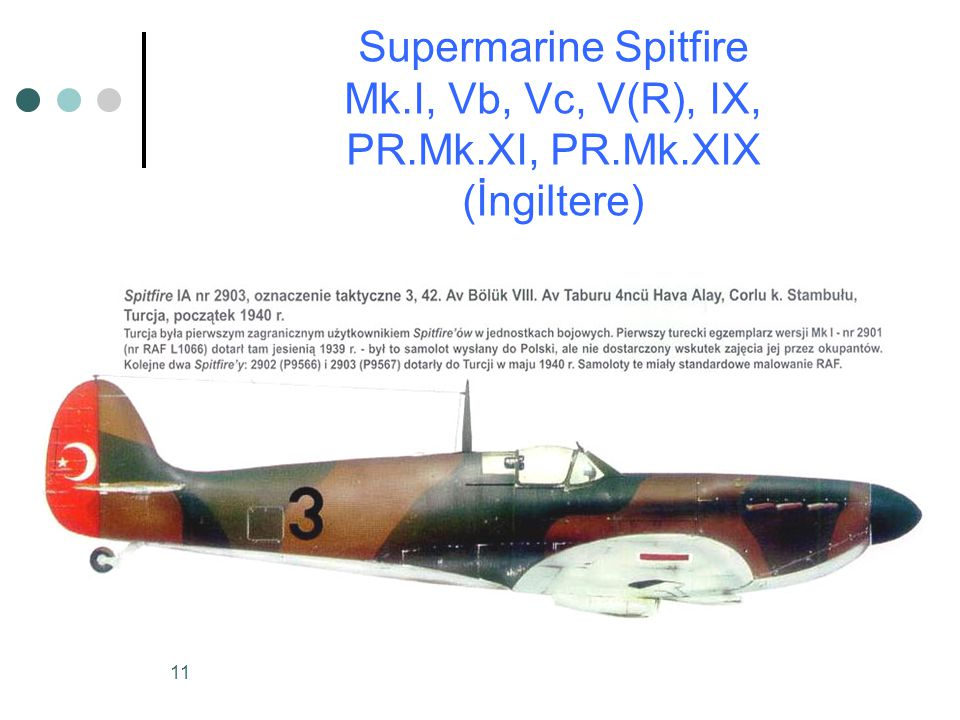 Supermarine Spitfire Mk. I, Vb, Vc, V(R), IX, PR. Mk. XI, PR. Mk