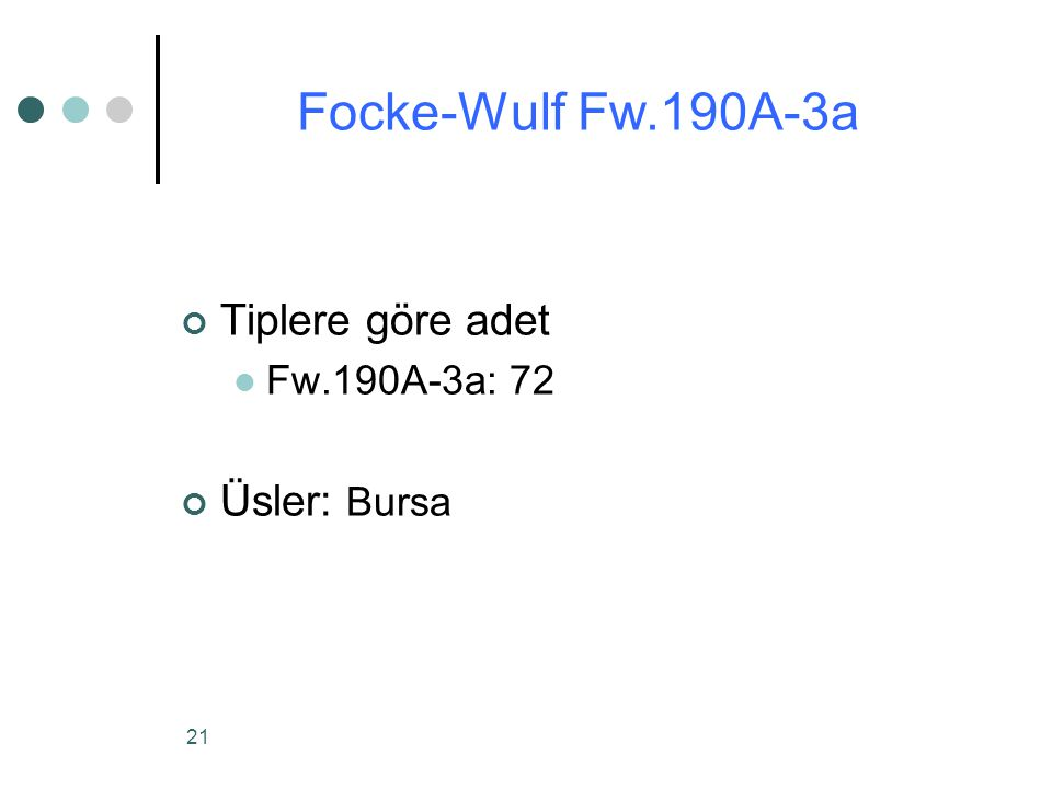 Focke-Wulf Fw.190A-3a Tiplere göre adet Fw.190A-3a: 72 Üsler: Bursa