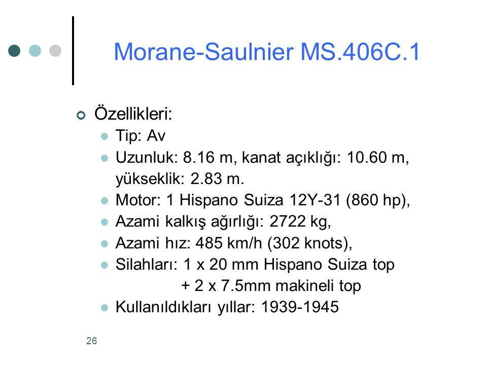 Morane-Saulnier MS.406C.1 Özellikleri: Tip: Av