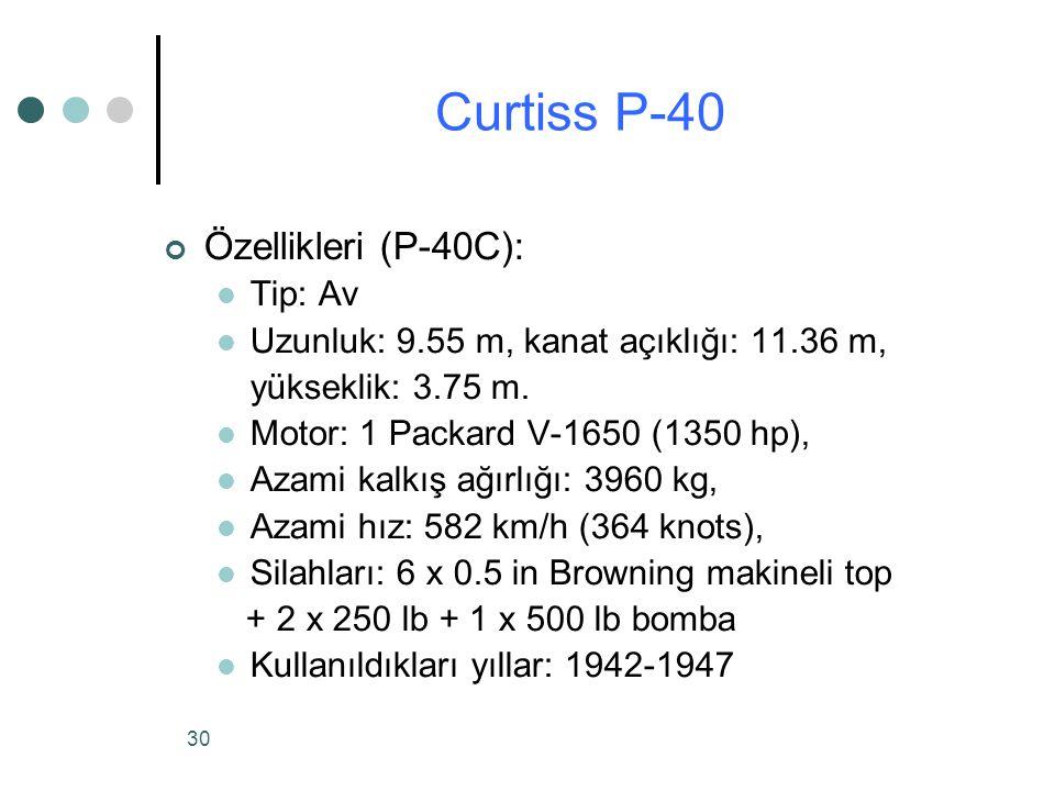Curtiss P-40 Özellikleri (P-40C): Tip: Av