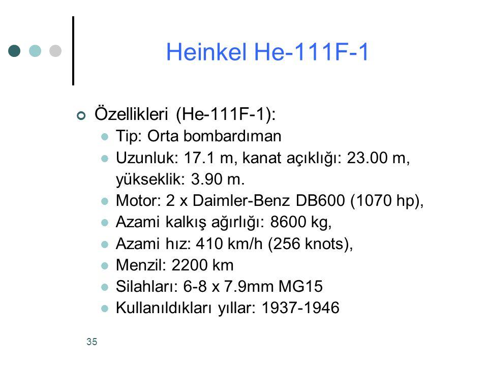 Heinkel He-111F-1 Özellikleri (He-111F-1): Tip: Orta bombardıman