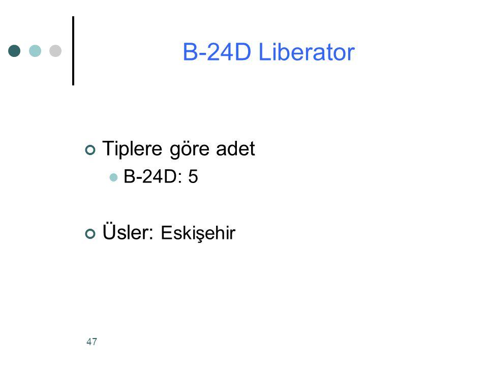 B-24D Liberator Tiplere göre adet B-24D: 5 Üsler: Eskişehir