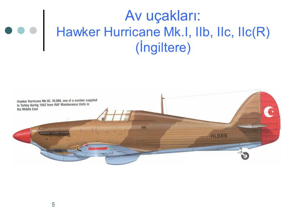 Av uçakları: Hawker Hurricane Mk.I, IIb, IIc, IIc(R) (İngiltere)