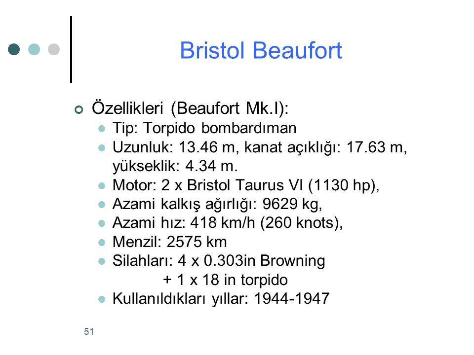 Bristol Beaufort Özellikleri (Beaufort Mk.I): Tip: Torpido bombardıman