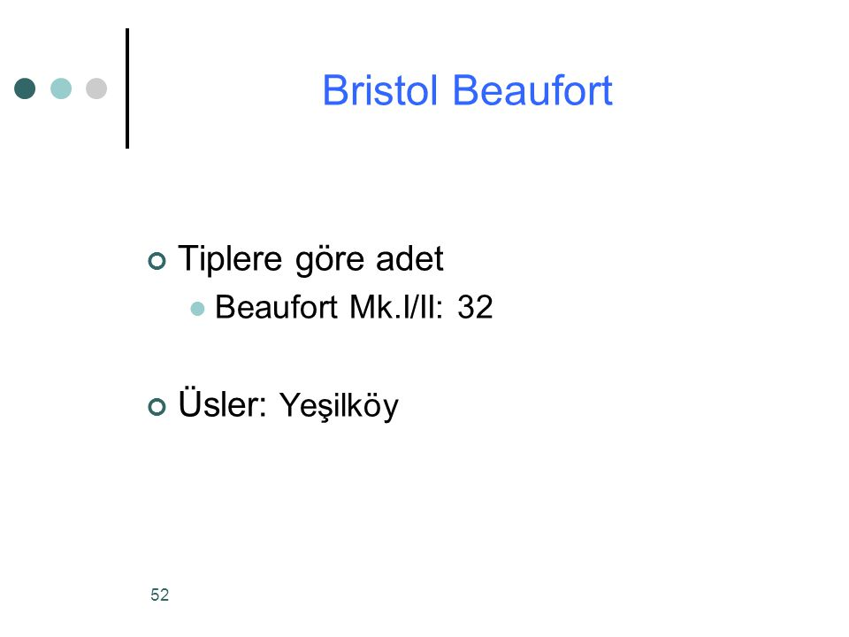 Bristol Beaufort Tiplere göre adet Üsler: Yeşilköy