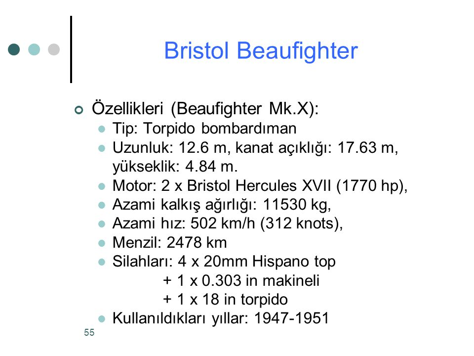 Bristol Beaufighter Özellikleri (Beaufighter Mk.X):