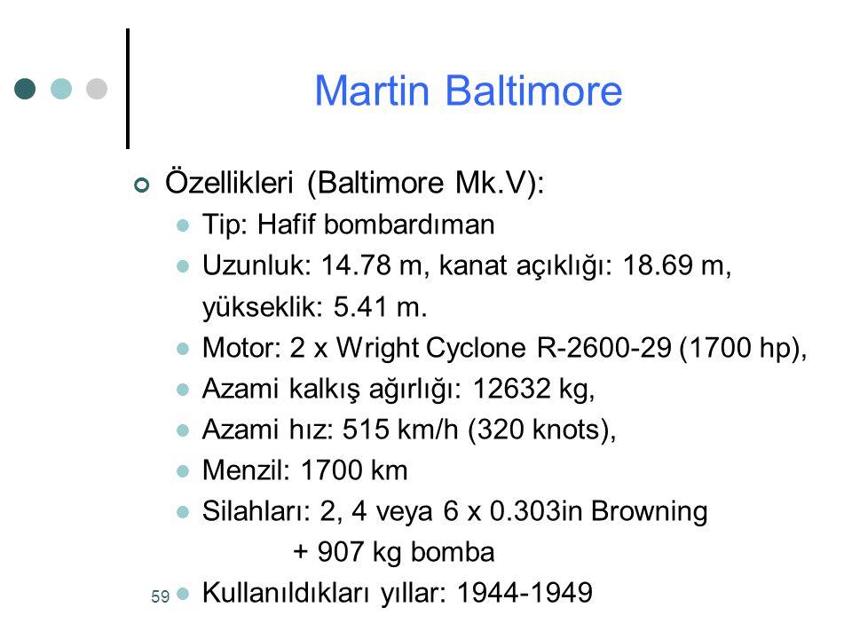 Martin Baltimore Özellikleri (Baltimore Mk.V): Tip: Hafif bombardıman