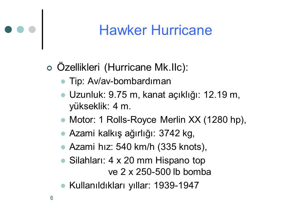 Hawker Hurricane Özellikleri (Hurricane Mk.IIc):