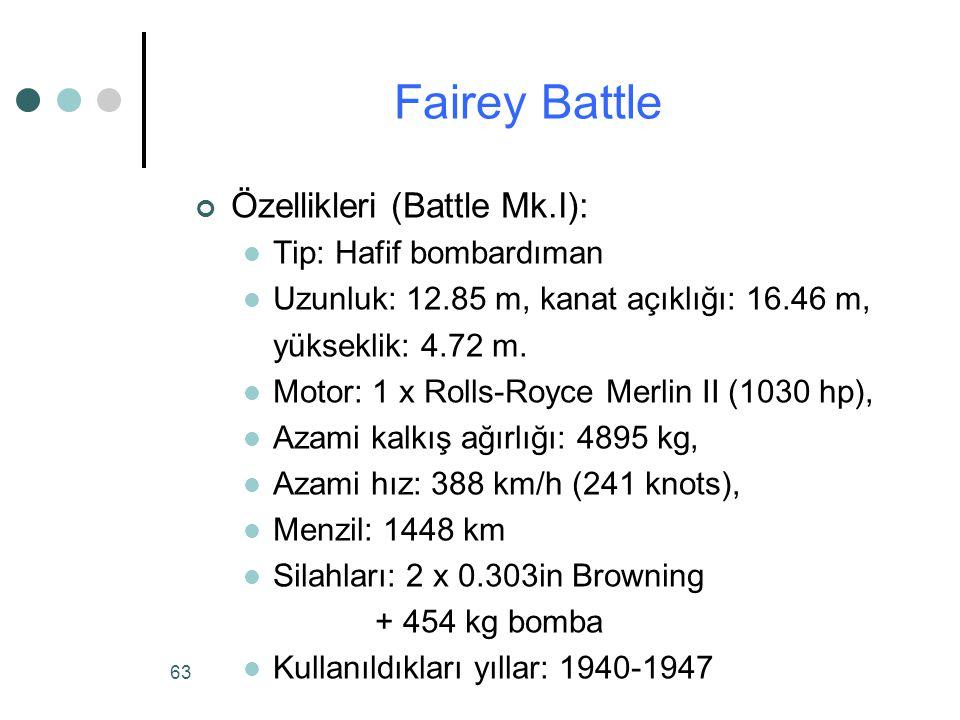 Fairey Battle Özellikleri (Battle Mk.I): Tip: Hafif bombardıman