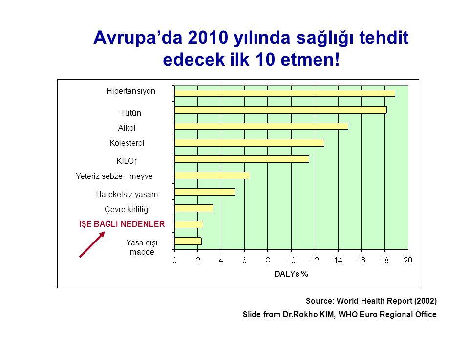 Avrupa'da 2010 yılında sağlığı tehdit edecek ilk 10 etmen!