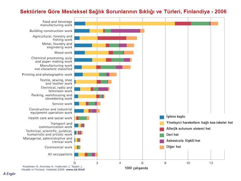Sektörlere Göre Mesleksel Sağlık Sorunlarının Sıklığı ve Türleri, Finlandiya - 2006