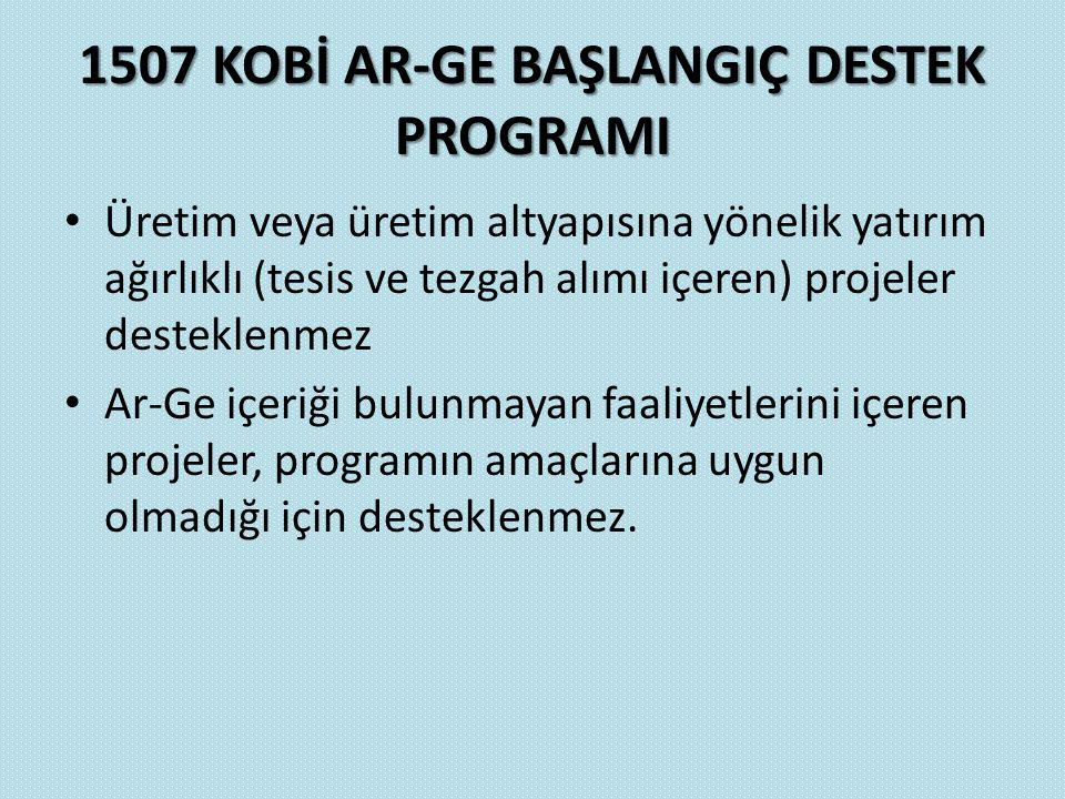 1507 KOBİ AR-GE BAŞLANGIÇ DESTEK PROGRAMI