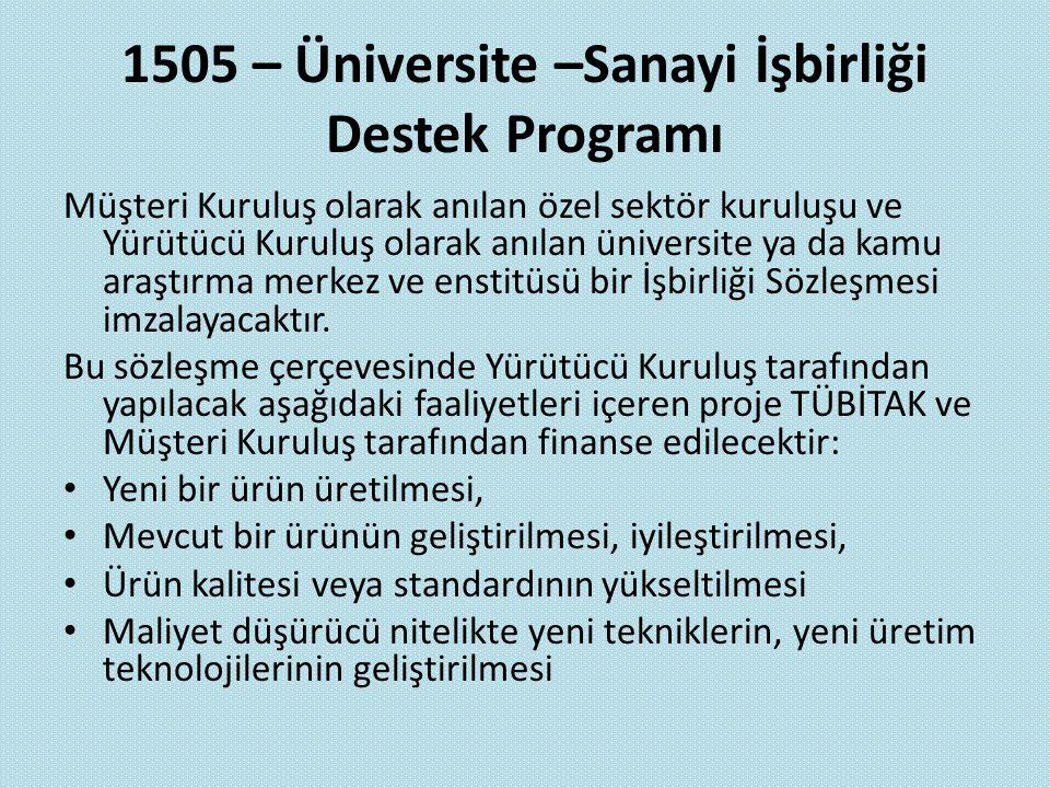 1505 – Üniversite –Sanayi İşbirliği Destek Programı