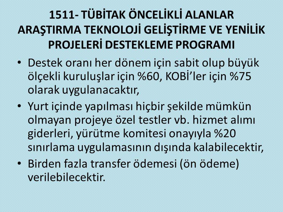 1511- TÜBİTAK ÖNCELİKLİ ALANLAR ARAŞTIRMA TEKNOLOJİ GELİŞTİRME VE YENİLİK PROJELERİ DESTEKLEME PROGRAMI