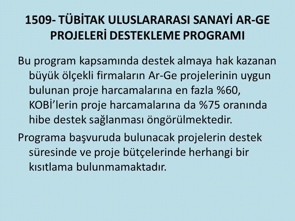 1509- TÜBİTAK ULUSLARARASI SANAYİ AR-GE PROJELERİ DESTEKLEME PROGRAMI