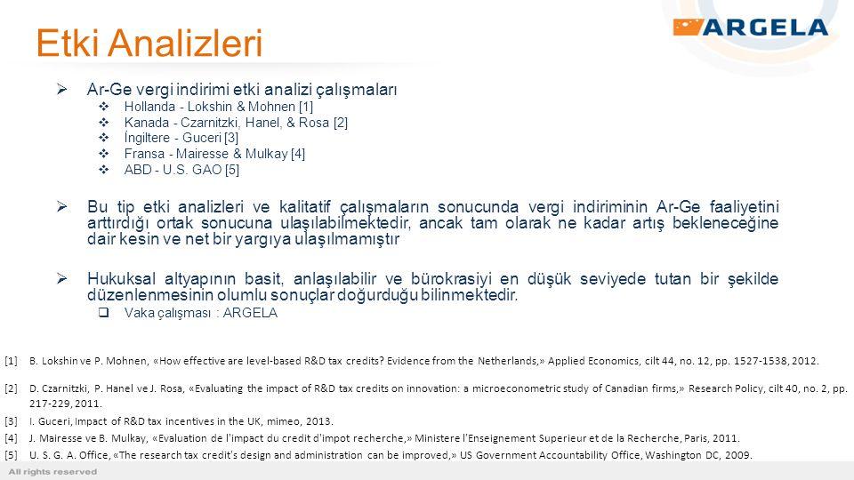 Etki Analizleri Ar-Ge vergi indirimi etki analizi çalışmaları
