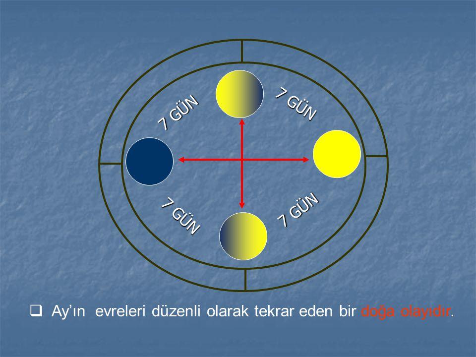 7 GÜN 7 GÜN 7 GÜN 7 GÜN Ay'ın evreleri düzenli olarak tekrar eden bir doğa olayıdır.