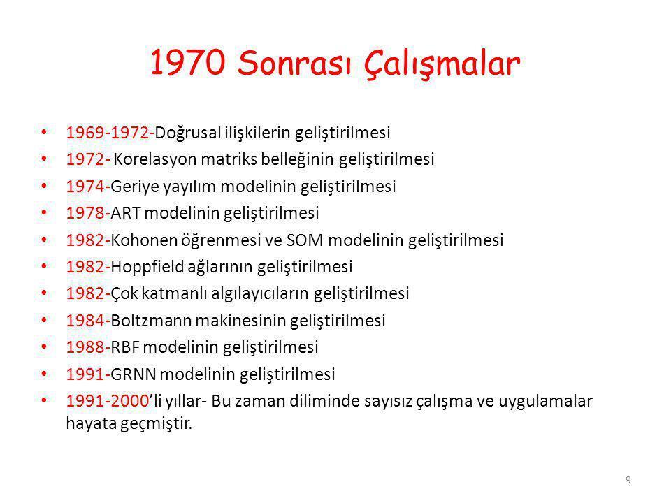 1970 Sonrası Çalışmalar 1969-1972-Doğrusal ilişkilerin geliştirilmesi