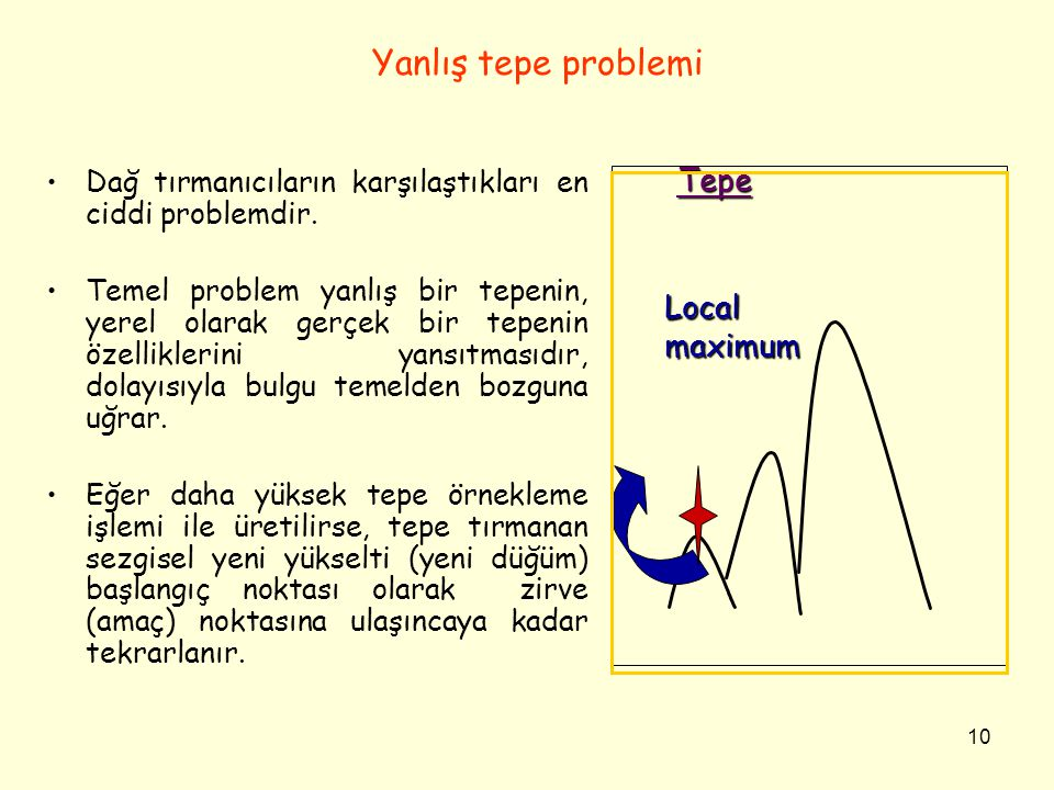 Yanlış tepe problemi Tepe Local maximum