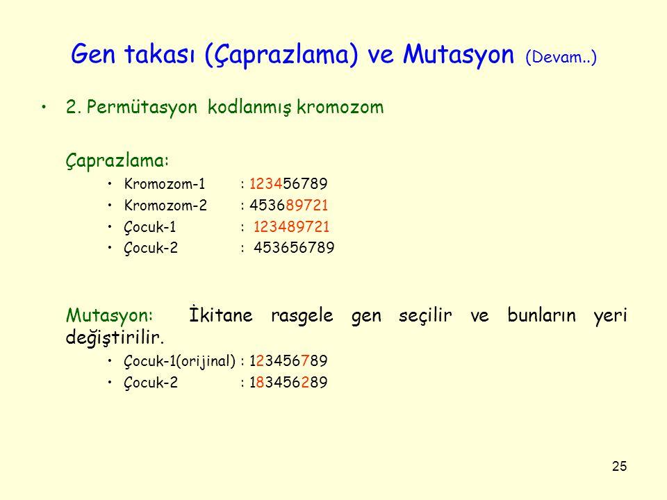 Gen takası (Çaprazlama) ve Mutasyon (Devam..)