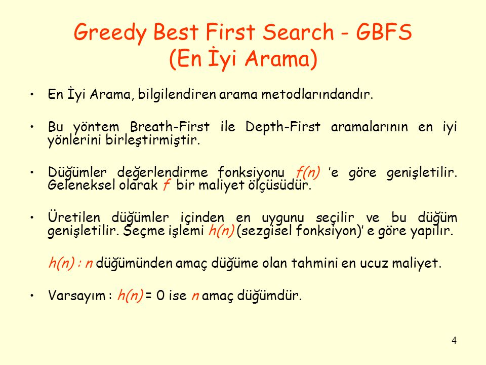 Greedy Best First Search - GBFS (En İyi Arama)