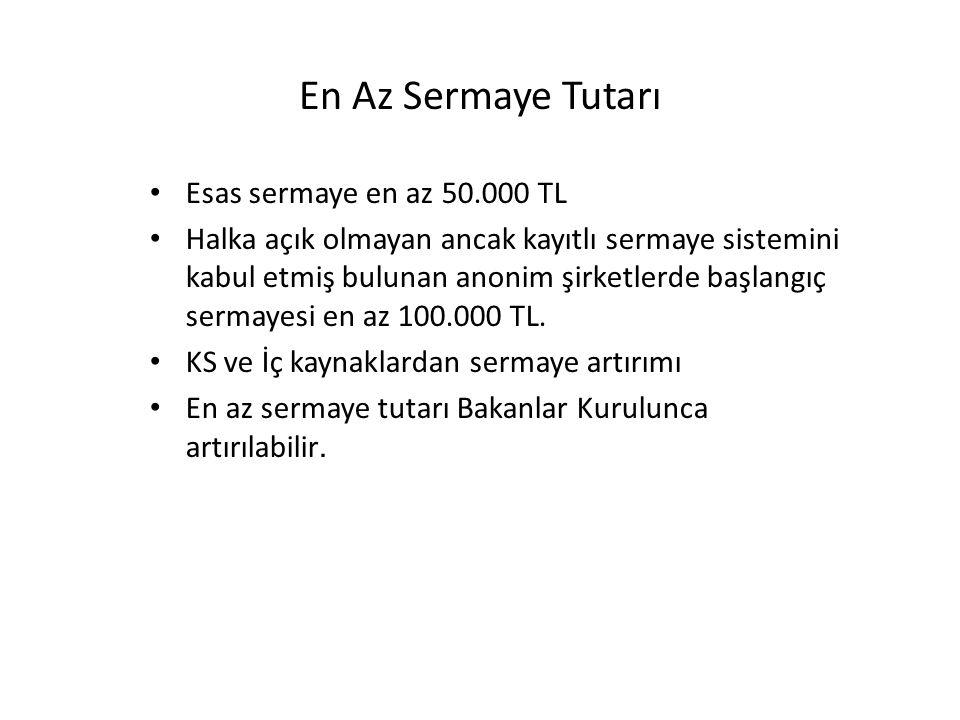 En Az Sermaye Tutarı Esas sermaye en az 50.000 TL