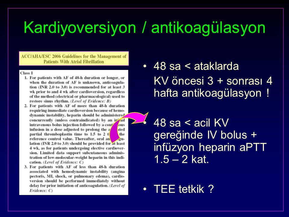 Kardiyoversiyon / antikoagülasyon