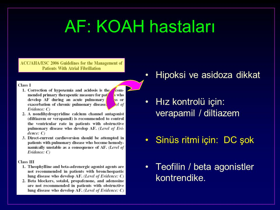 AF: KOAH hastaları Hipoksi ve asidoza dikkat