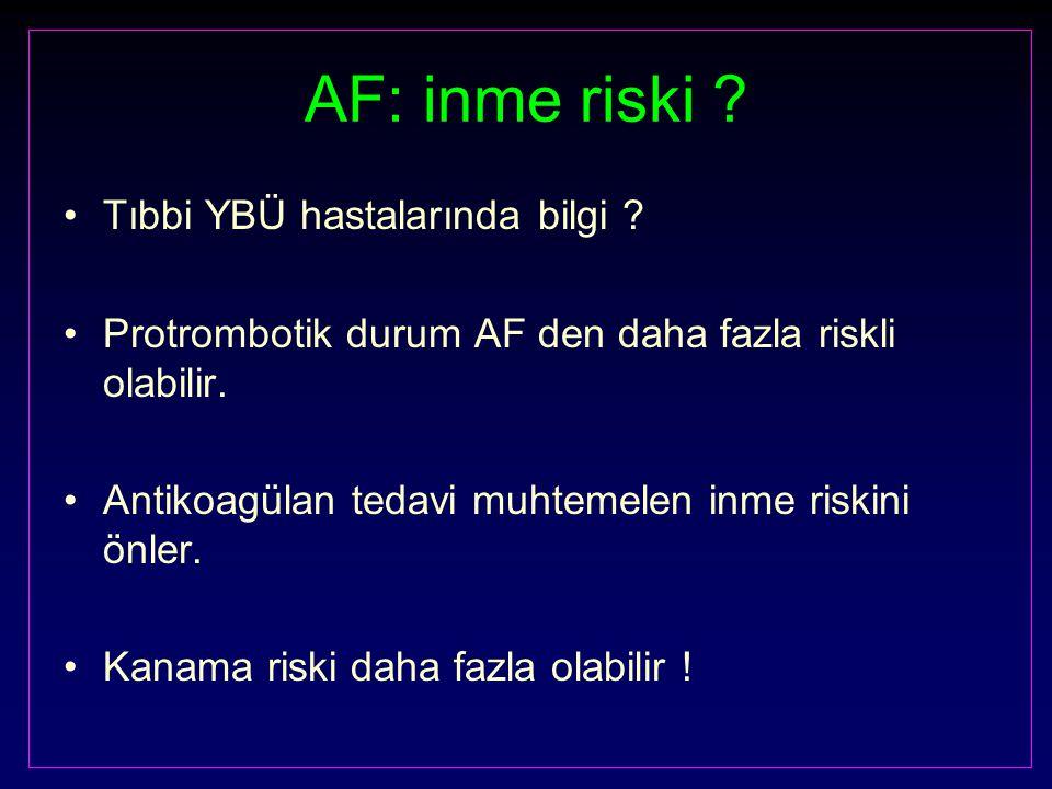 AF: inme riski Tıbbi YBÜ hastalarında bilgi