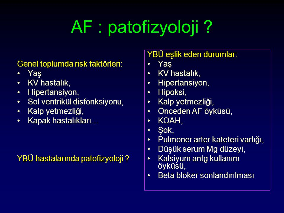 AF : patofizyoloji Genel toplumda risk faktörleri: Yaş KV hastalık,