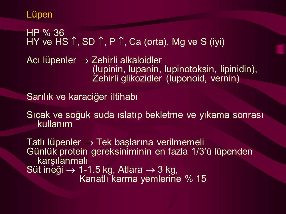 Lüpen HP % 36. HY ve HS , SD , P , Ca (orta), Mg ve S (iyi) Acı lüpenler  Zehirli alkaloidler.