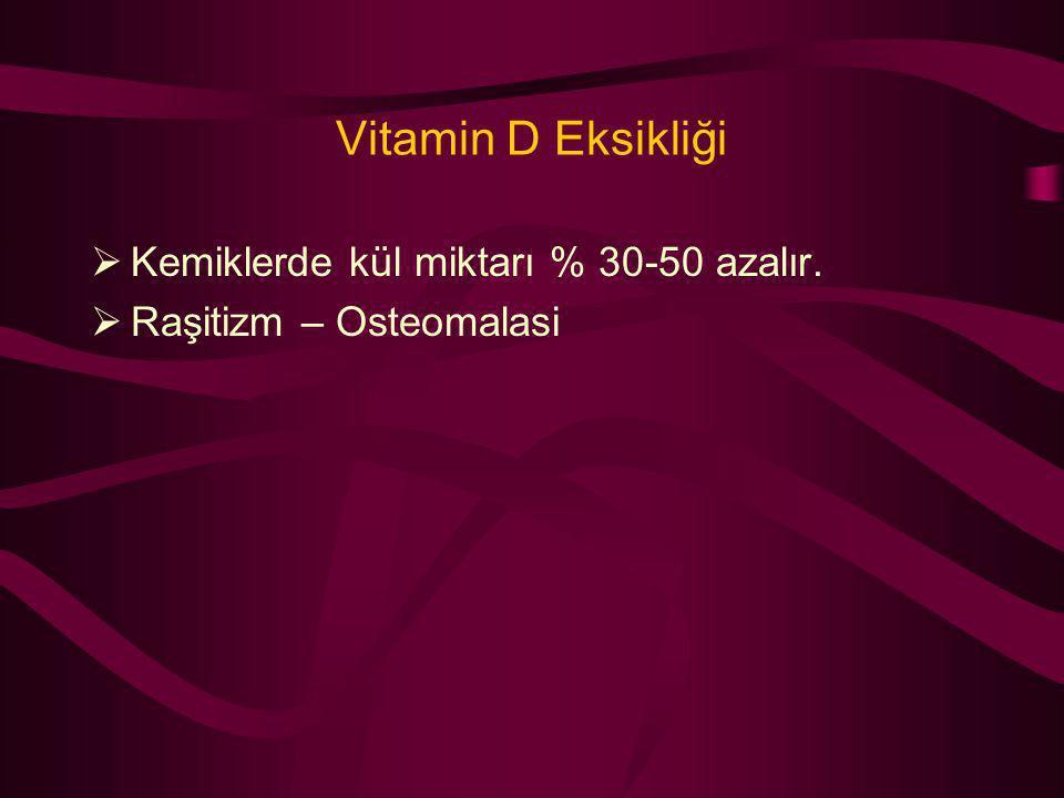 Vitamin D Eksikliği Kemiklerde kül miktarı % 30-50 azalır.