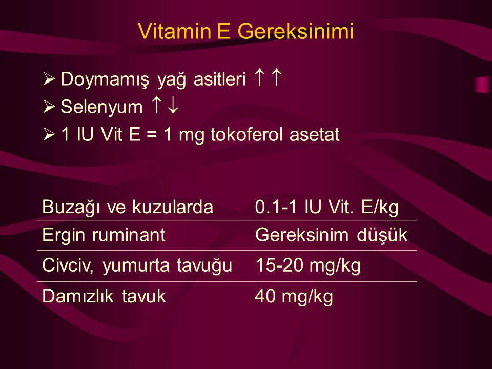 Vitamin E Gereksinimi Doymamış yağ asitleri   Selenyum  