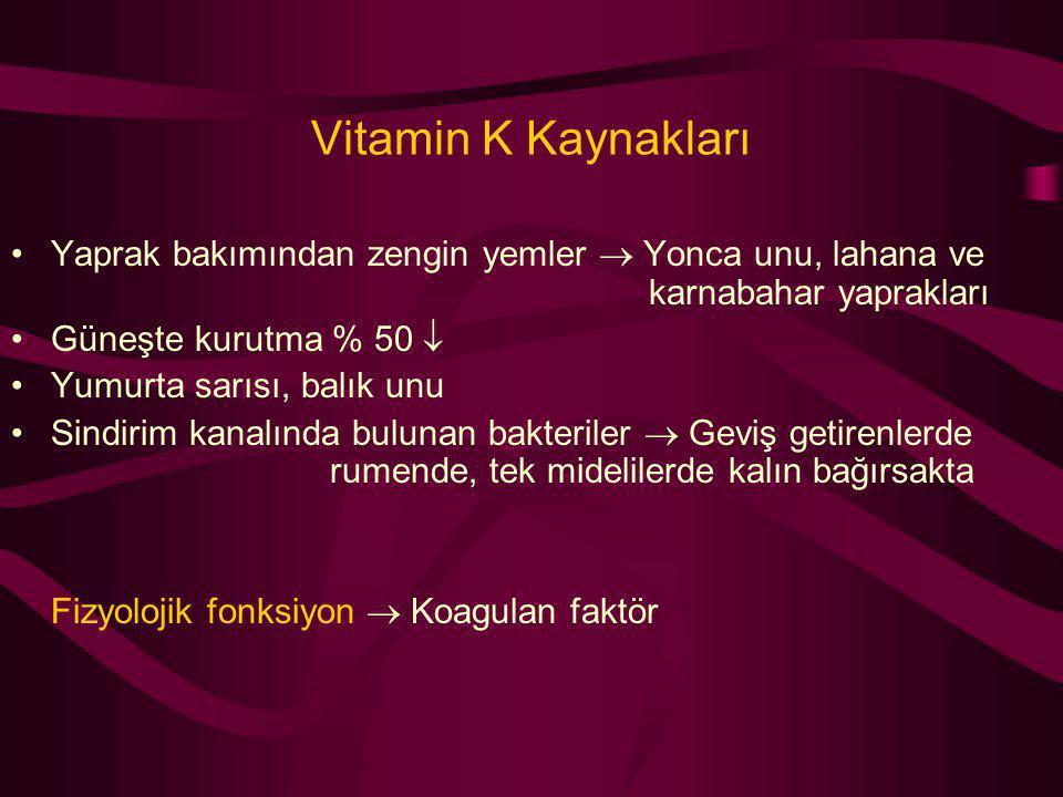 Vitamin K Kaynakları Yaprak bakımından zengin yemler  Yonca unu, lahana ve karnabahar yaprakları.