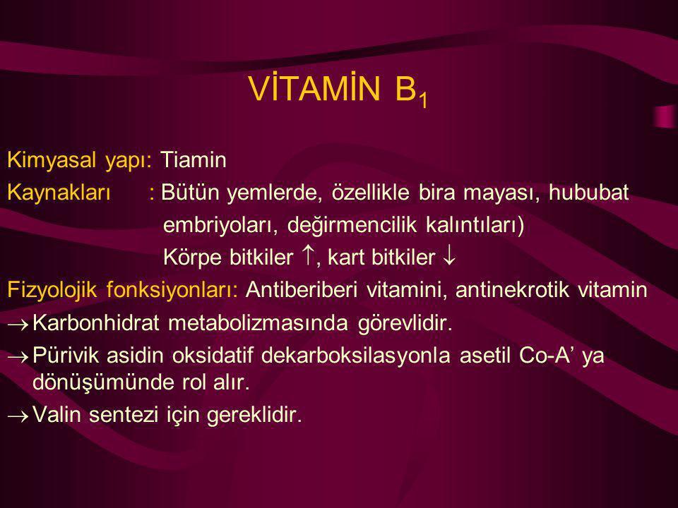 VİTAMİN B1 Kimyasal yapı: Tiamin