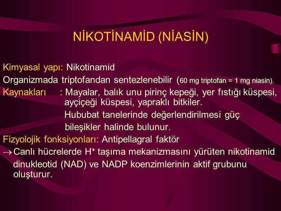 NİKOTİNAMİD (NİASİN) Kimyasal yapı: Nikotinamid
