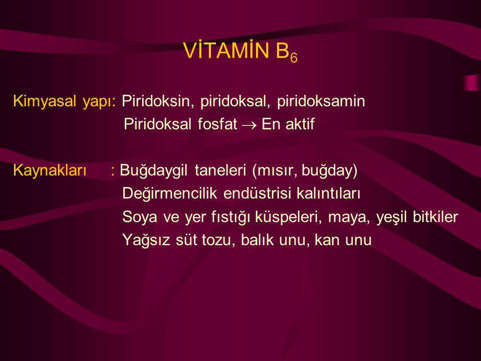 VİTAMİN B6 Kimyasal yapı: Piridoksin, piridoksal, piridoksamin