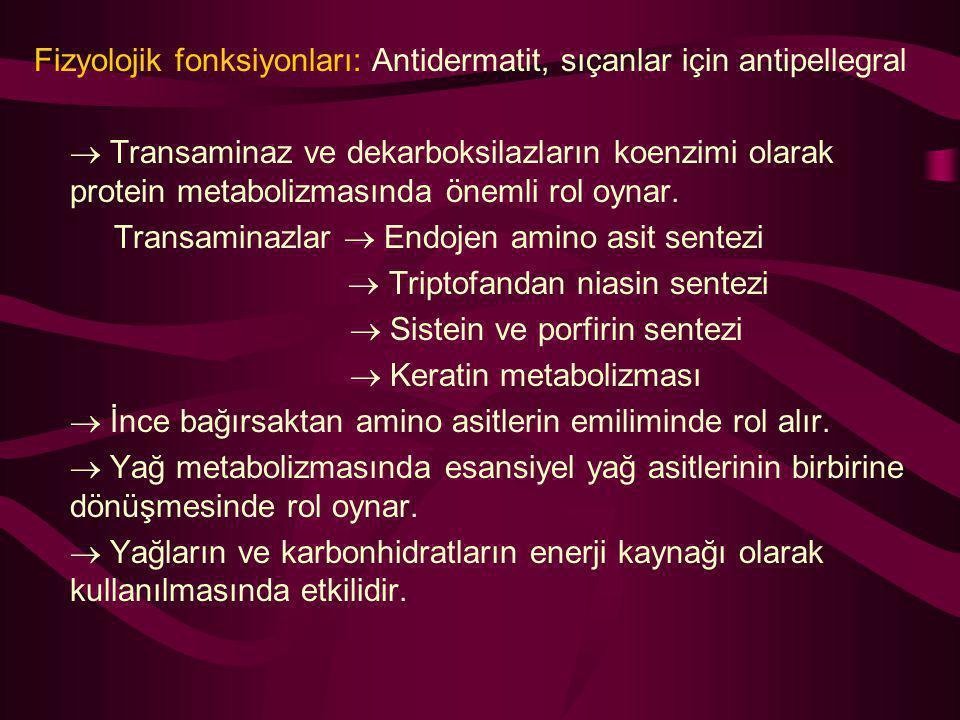 Fizyolojik fonksiyonları: Antidermatit, sıçanlar için antipellegral