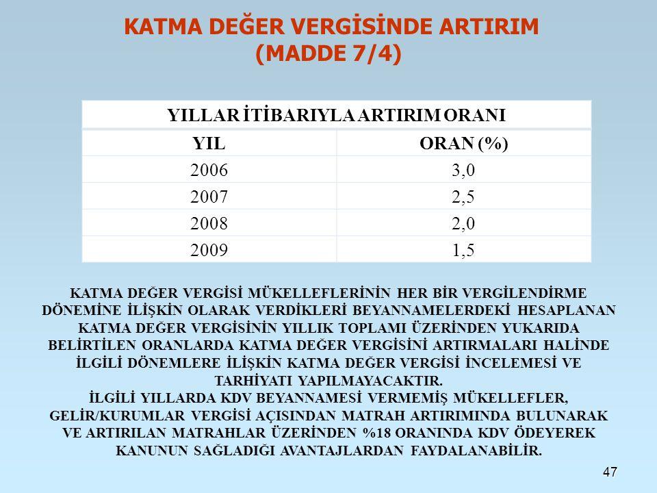 KATMA DEĞER VERGİSİNDE ARTIRIM (MADDE 7/4)
