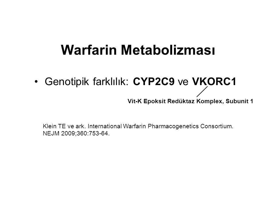 Warfarin Metabolizması
