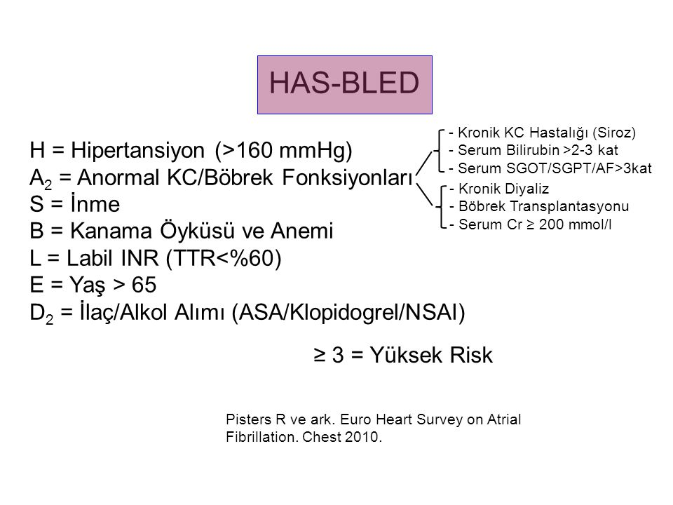HAS-BLED H = Hipertansiyon (>160 mmHg)