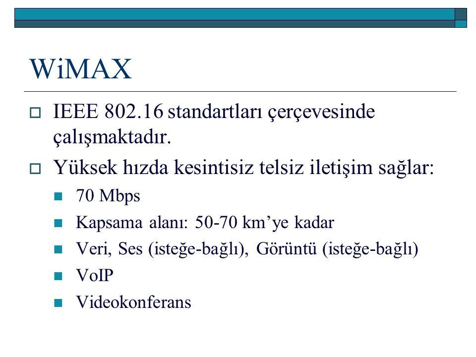 WiMAX IEEE 802.16 standartları çerçevesinde çalışmaktadır.