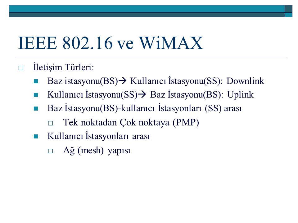 IEEE 802.16 ve WiMAX Tek noktadan Çok noktaya (PMP) Ağ (mesh) yapısı
