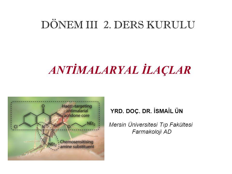 ANTİMALARYAL İLAÇLAR DÖNEM III 2. DERS KURULU YRD. DOÇ. DR. İSMAİL ÜN