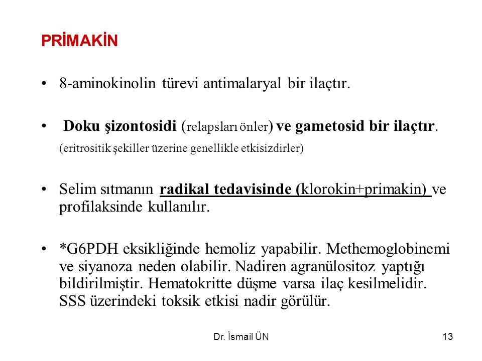 8-aminokinolin türevi antimalaryal bir ilaçtır.